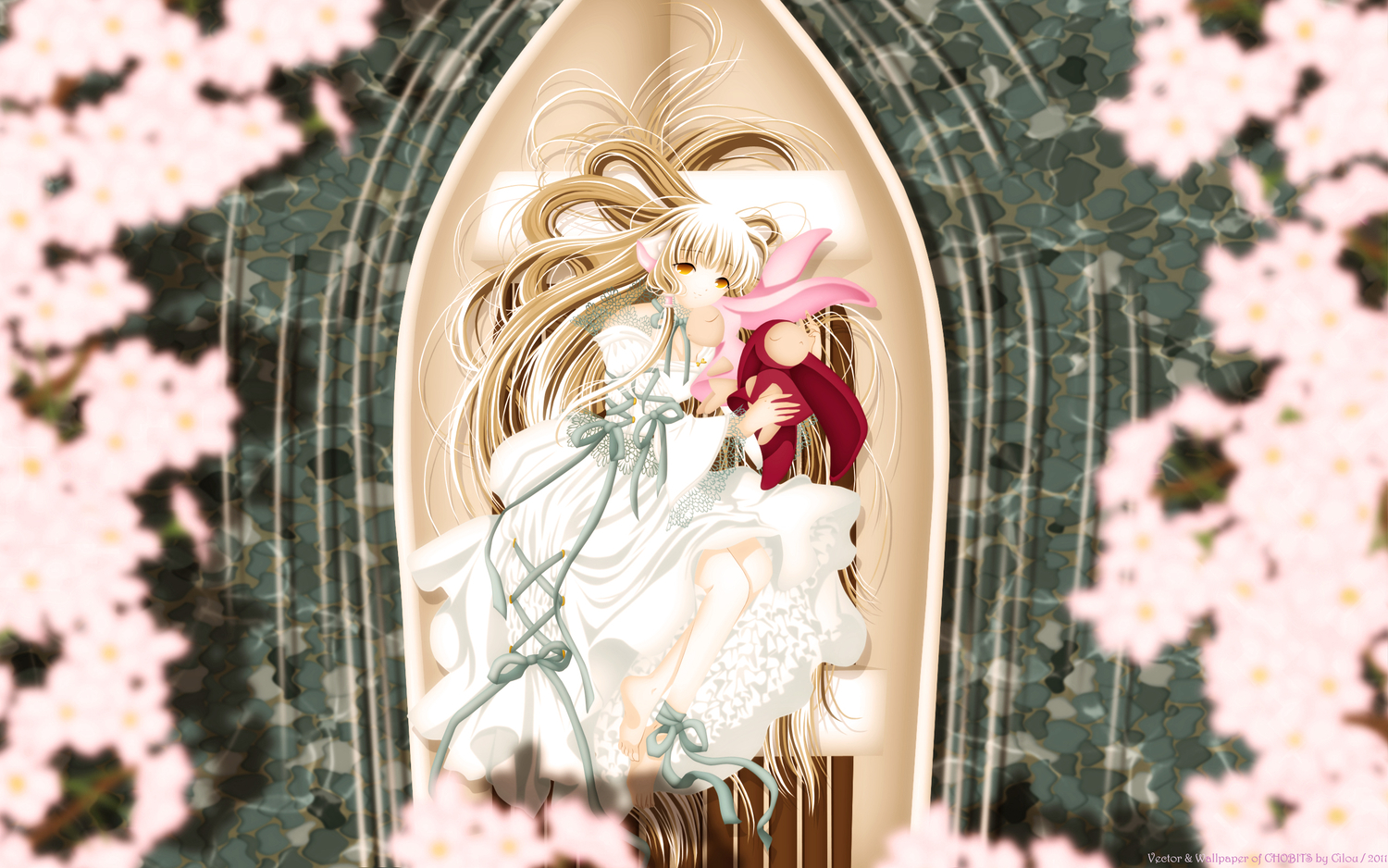 chii chobits dress flowers long_hair third-party_edit