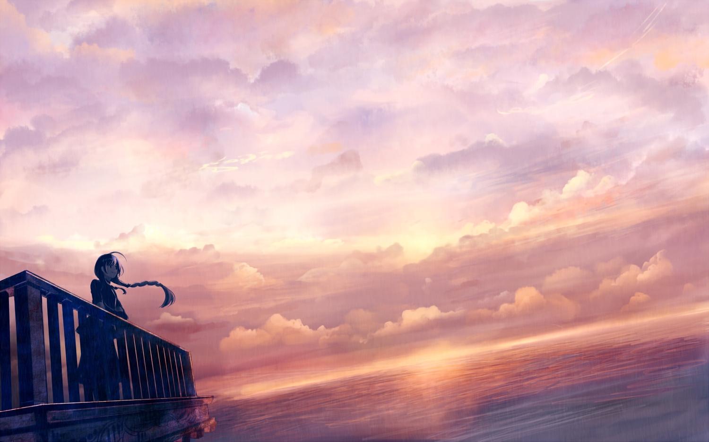 bou_nin braids clouds long_hair original scenic sunset waifu2x water