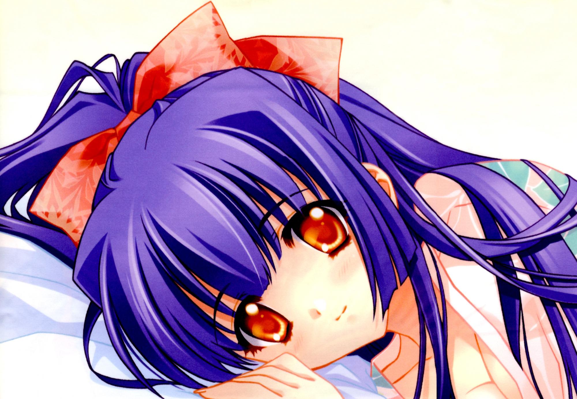 blue_hair blush carnelian kao_no_nai_tsuki kuraki_suzuna orange_eyes ribbons scan