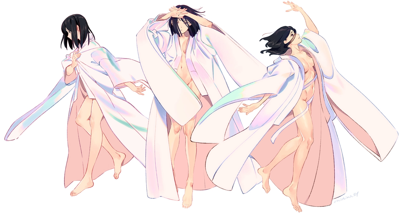japanese_clothes kimono navel open_shirt original umishima_senbon