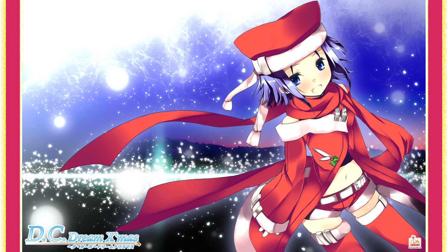 amakase_minatsu blue_eyes christmas da_capo_dream_x'mas hat purple_hair refeia santa_costume scarf short_hair thighhighs