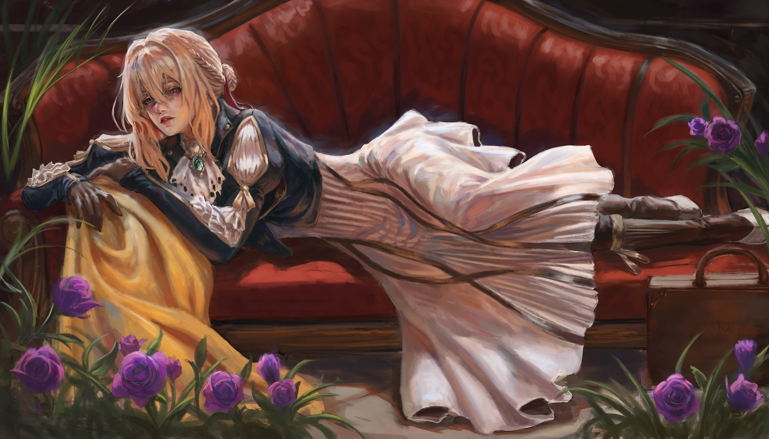 blonde_hair blue_eyes braids couch dress flowers gloves gold_can realistic violet_evergarden violet_evergarden_(character)