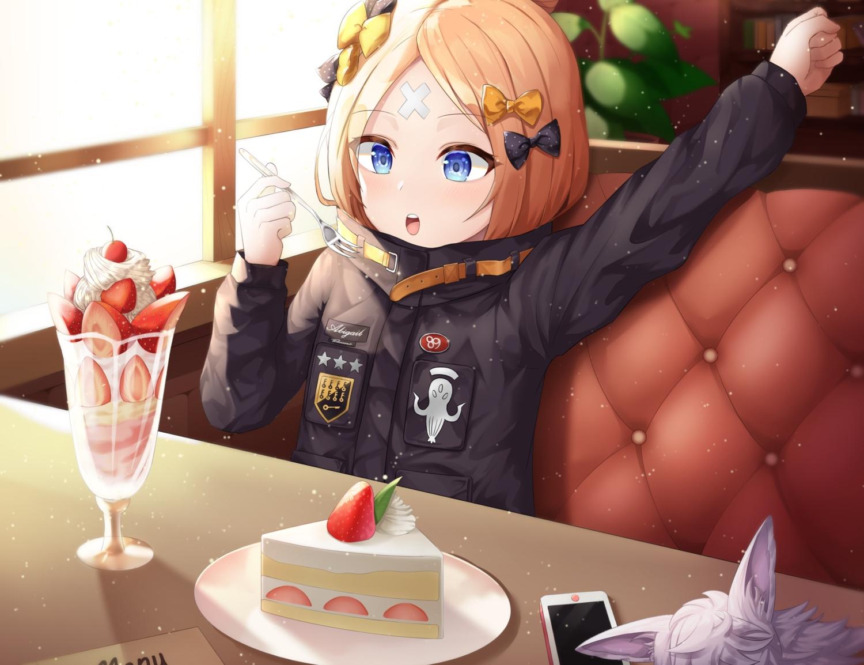 abigail_williams_(fate/grand_order) blonde_hair blue_eyes blush bow cake cherry cropped fate/grand_order fate_(series) food fou_(fate/grand_order) fruit loli phone shuvui strawberry