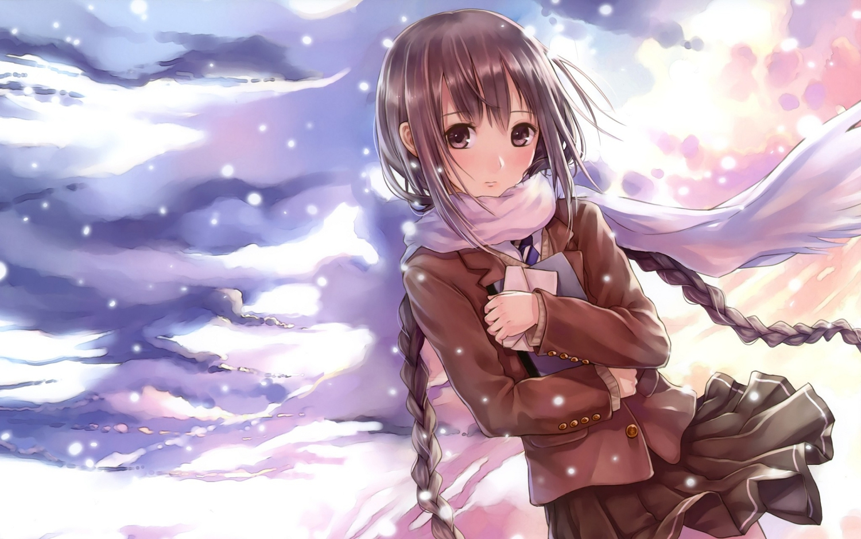 brown_eyes brown_hair clouds kazuharu_kina long_hair original scarf school_uniform sky twintails