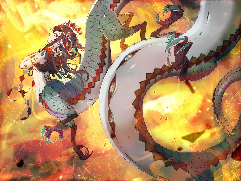 brown_hair dragon horns long_hair original pointed_ears red_eyes sopra tattoo