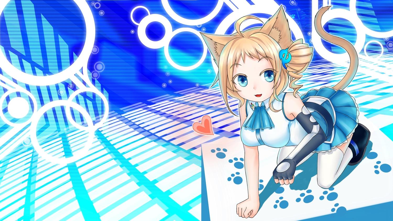 aizawa_inori animal_ears blonde_hair blue_eyes catgirl elbow_gloves gloves internet_explorer microsoft skirt thighhighs