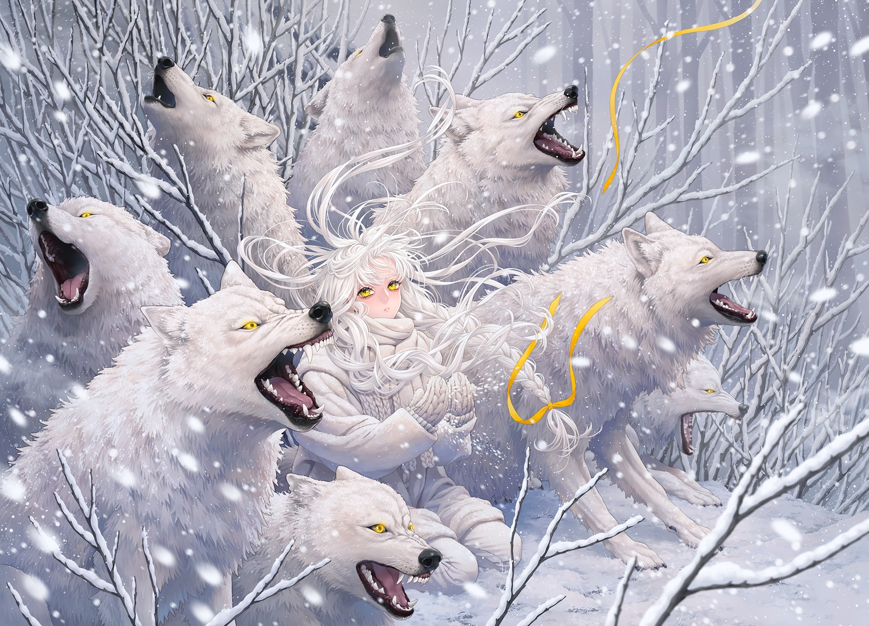 animal forest gloves long_hair minami_(minami373916) original ribbons scarf snow tree white_hair wolf yellow_eyes