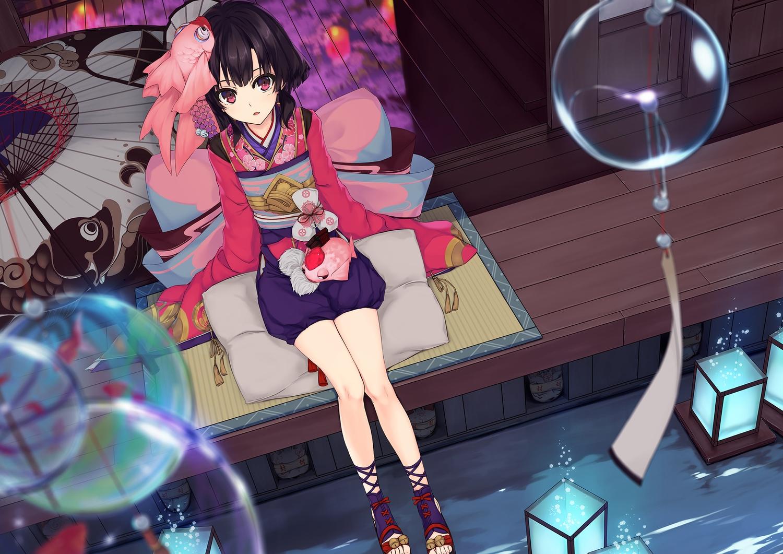 54crystle black_hair japanese_clothes kagura_(onmyouji) long_hair onmyouji pink_eyes umbrella water