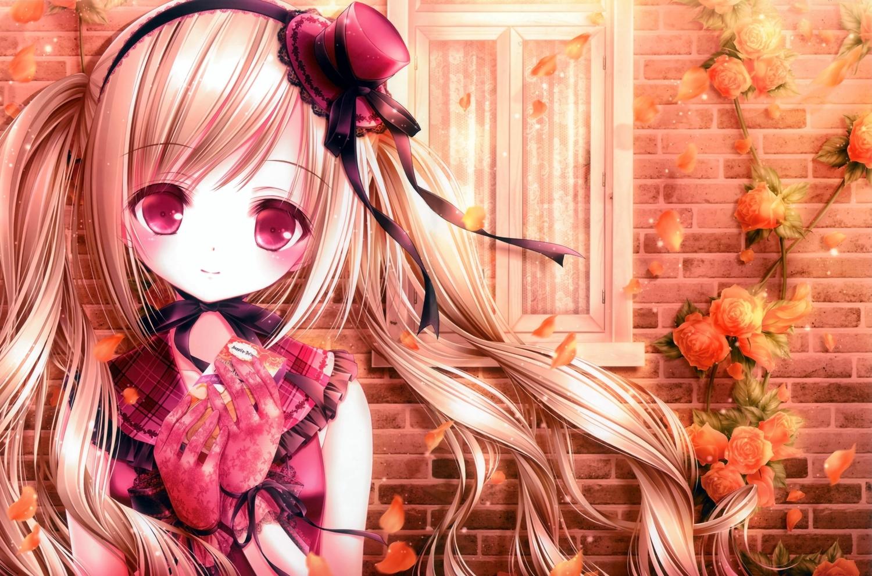 blonde_hair blush flowers gloves hat lolita_fashion long_hair original petals red_eyes ribbons rose scan tinkle twintails