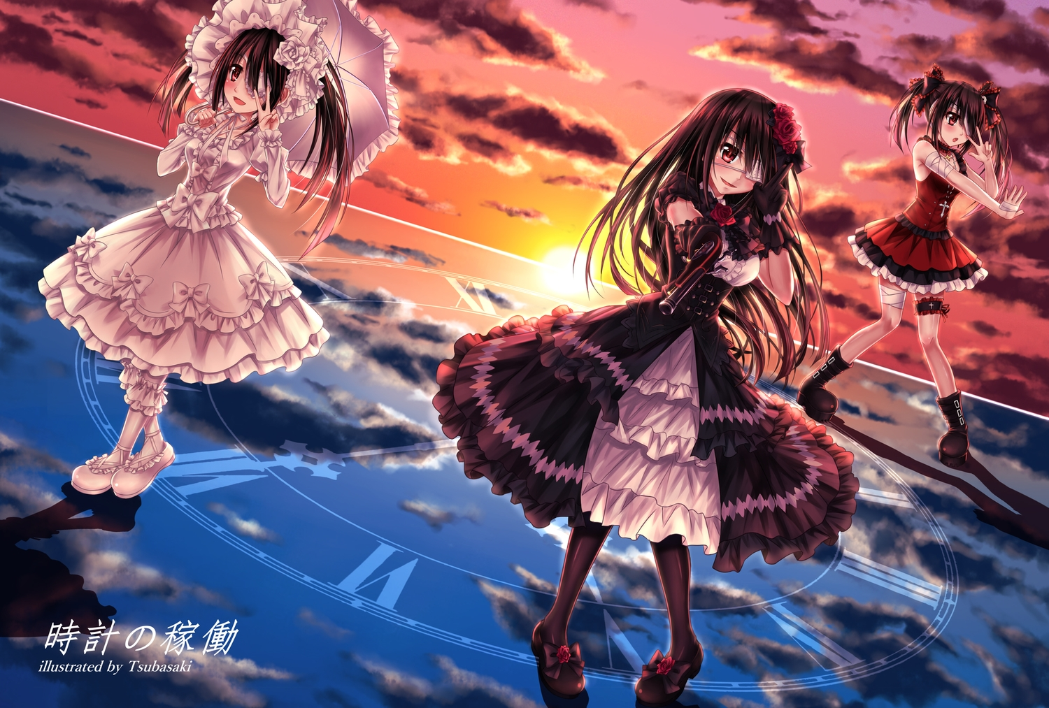 bandage bicolored_eyes black_hair boots bow clouds date_a_live dress eyepatch garter gloves goth-loli gun headdress lolita_fashion long_hair pantyhose reflection ribbons sky sunset tokisaki_kurumi tsubasaki twintails watermark weapon