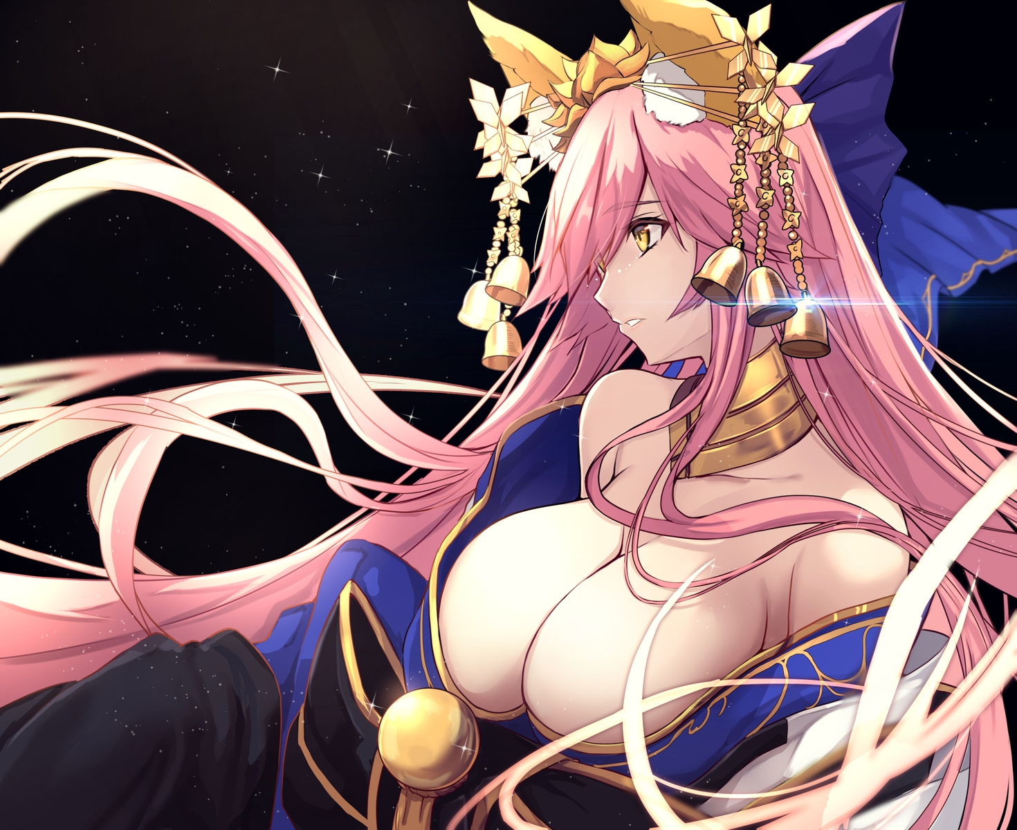 animal_ears bell breasts cleavage close fate/grand_order fate_(series) foxgirl japanese_clothes long_hair no_bra pink_hair tamamo_no_mae_(fate) untue yellow_eyes