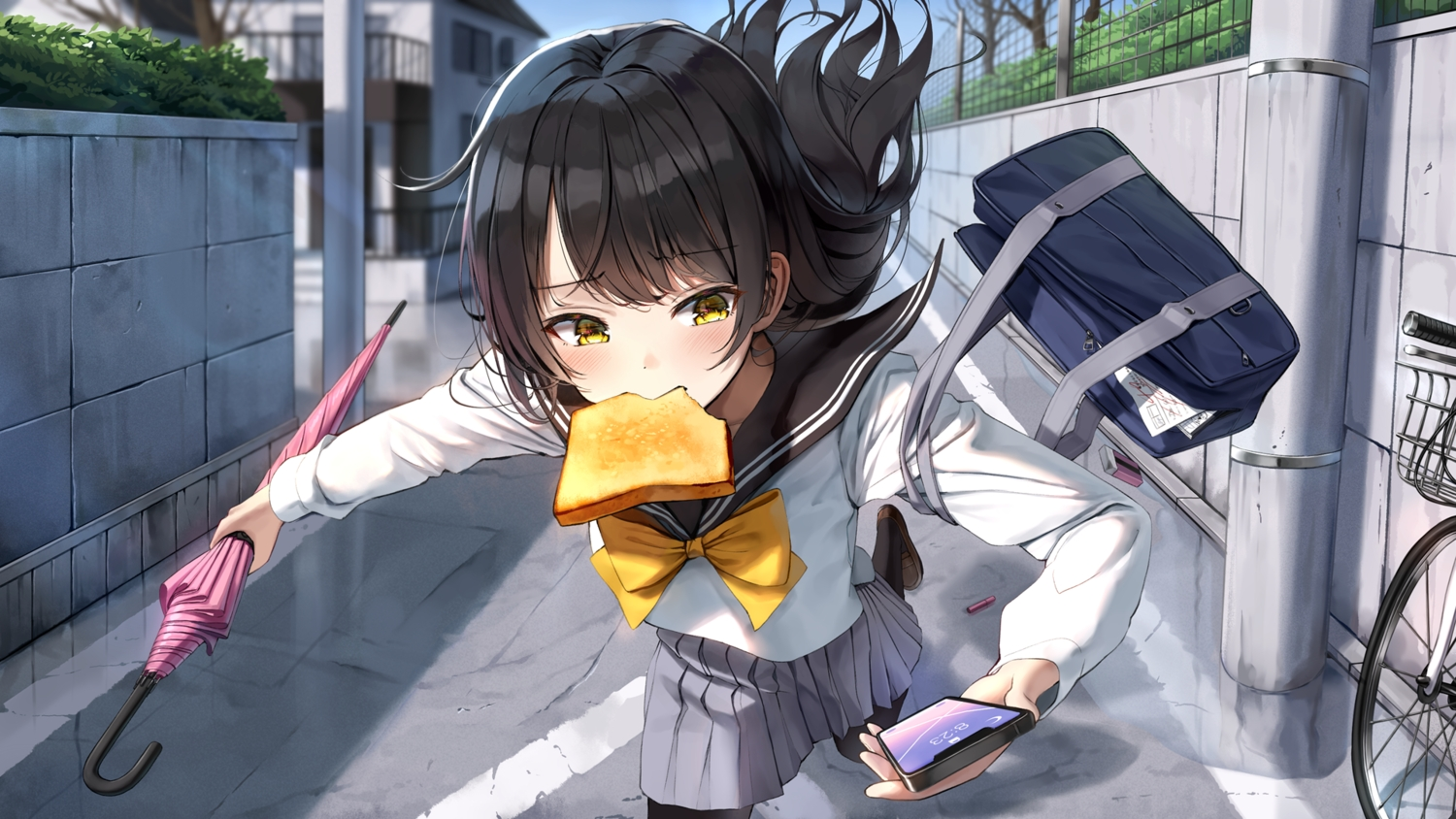 bicycle black_hair bow building city close food long_hair original pantyhose paper phone school_uniform skirt super_pig umbrella yellow_eyes