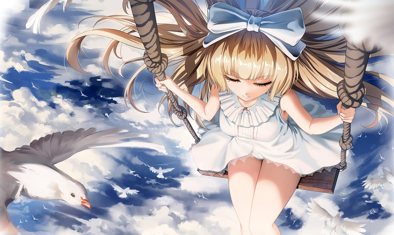 animal bird blonde_hair bow clouds dress long_hair obaoba_(monkeyix) original panties sky summer_dress underwear