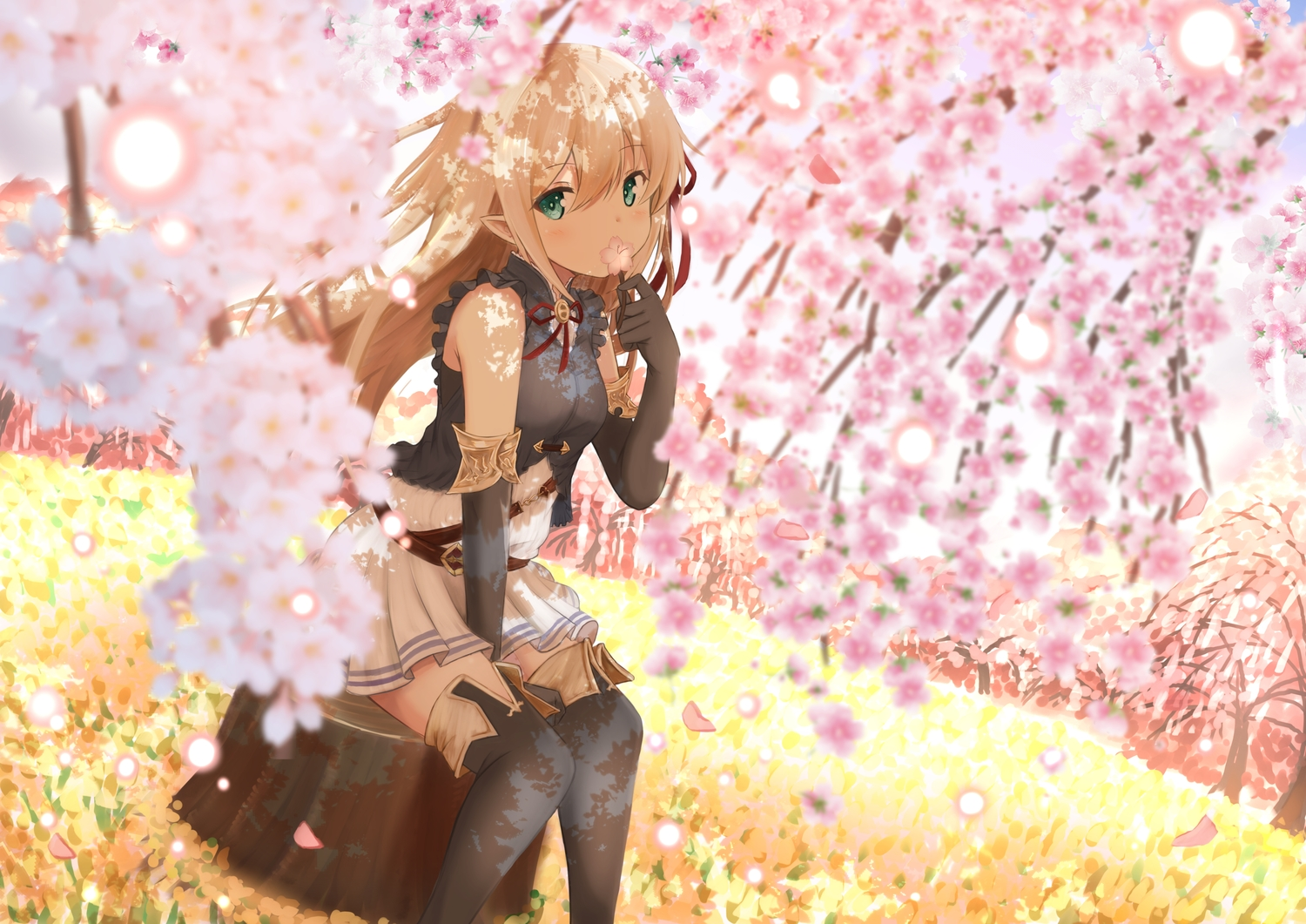 arisa_(shadowverse) blonde_hair boots cherry_blossoms elbow_gloves flowers gloves green_eyes long_hair pointed_ears ribbons shadowverse shibakame skirt thighhighs