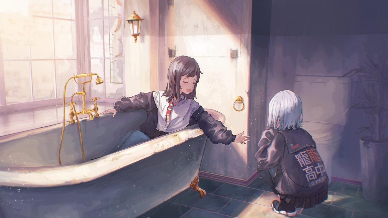 2girls bath bathtub black_hair kyarage_(soda) original school_uniform short_hair skirt white_hair