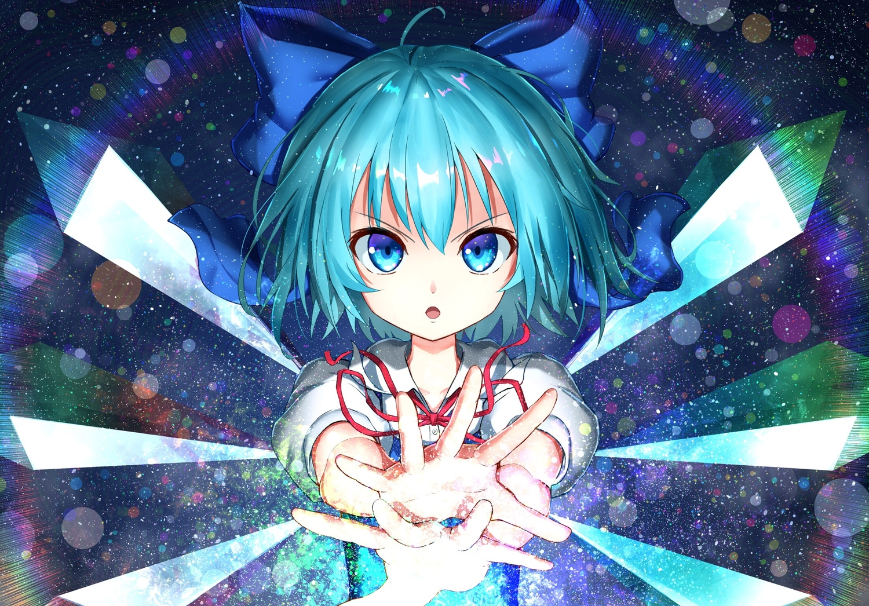 aqua_eyes aqua_hair bow cirno close fairy magic short_hair teraguchi touhou wings