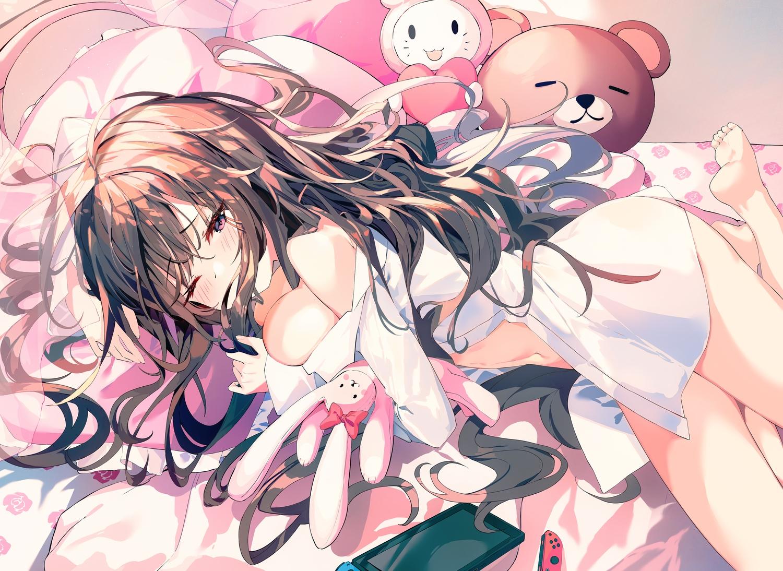blush breast_hold breasts brown_hair bunny game_console long_hair munseonghwa naked_shirt open_shirt original pink_eyes shirt teddy_bear wink