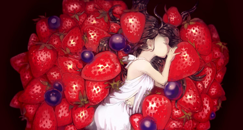 brown_hair dress food fruit long_hair mitsukoshi_(geldidiot) original strawberry
