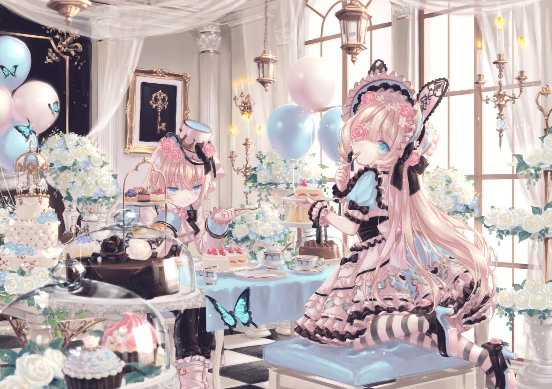 animal_ears blonde_hair blue_eyes bunny_ears butterfly cake dress drink eyepatch flowers food hat lolita_fashion long_hair original rose short_hair yumeichigo_alice