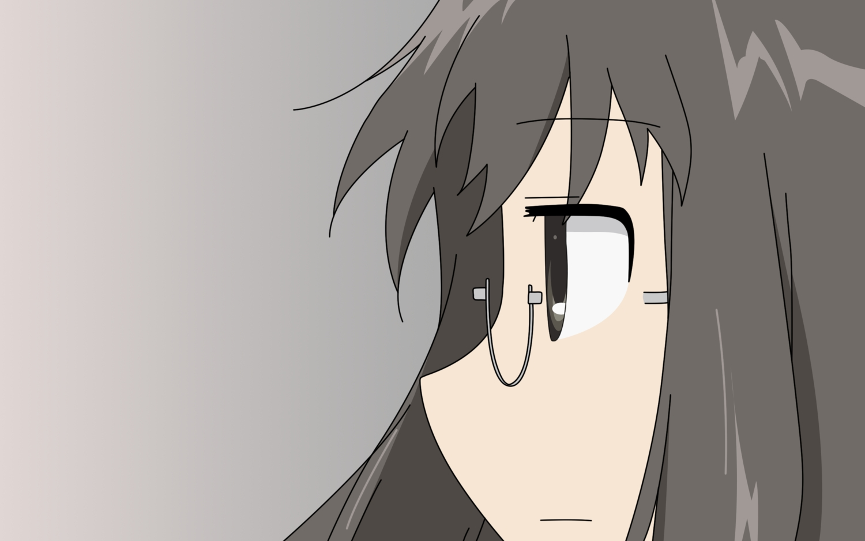 black_eyes black_hair close glasses gradient minakami_mai nichijou vector