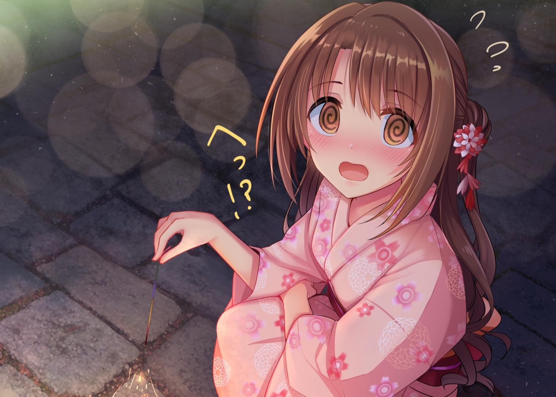 blush brown_hair close fireworks idolmaster idolmaster_cinderella_girls japanese_clothes long_hair night ponytail shimamura_uzuki u_rin yellow_eyes yukata