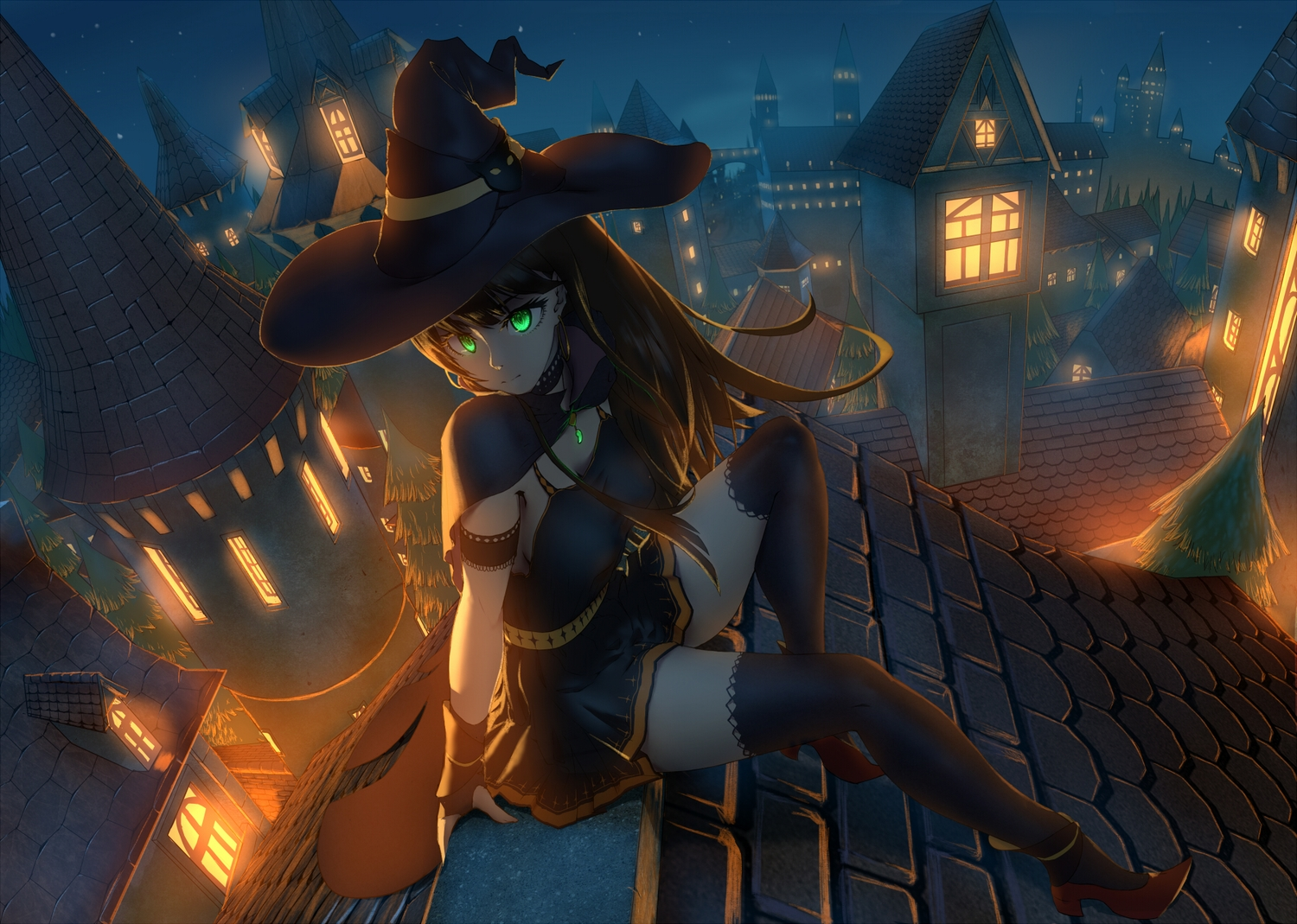 breasts brown_hair building cape city gloves green_eyes halloween hat idolmaster idolmaster_cinderella_girls jay_zhang long_hair night scenic shibuya_rin thighhighs witch witch_hat