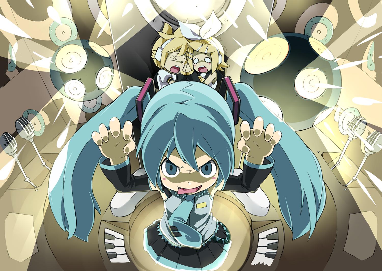 aqua_eyes blonde_hair blue_hair chibi fang hajime hatsune_miku kagamine_len kagamine_rin male skirt tie twintails vocaloid