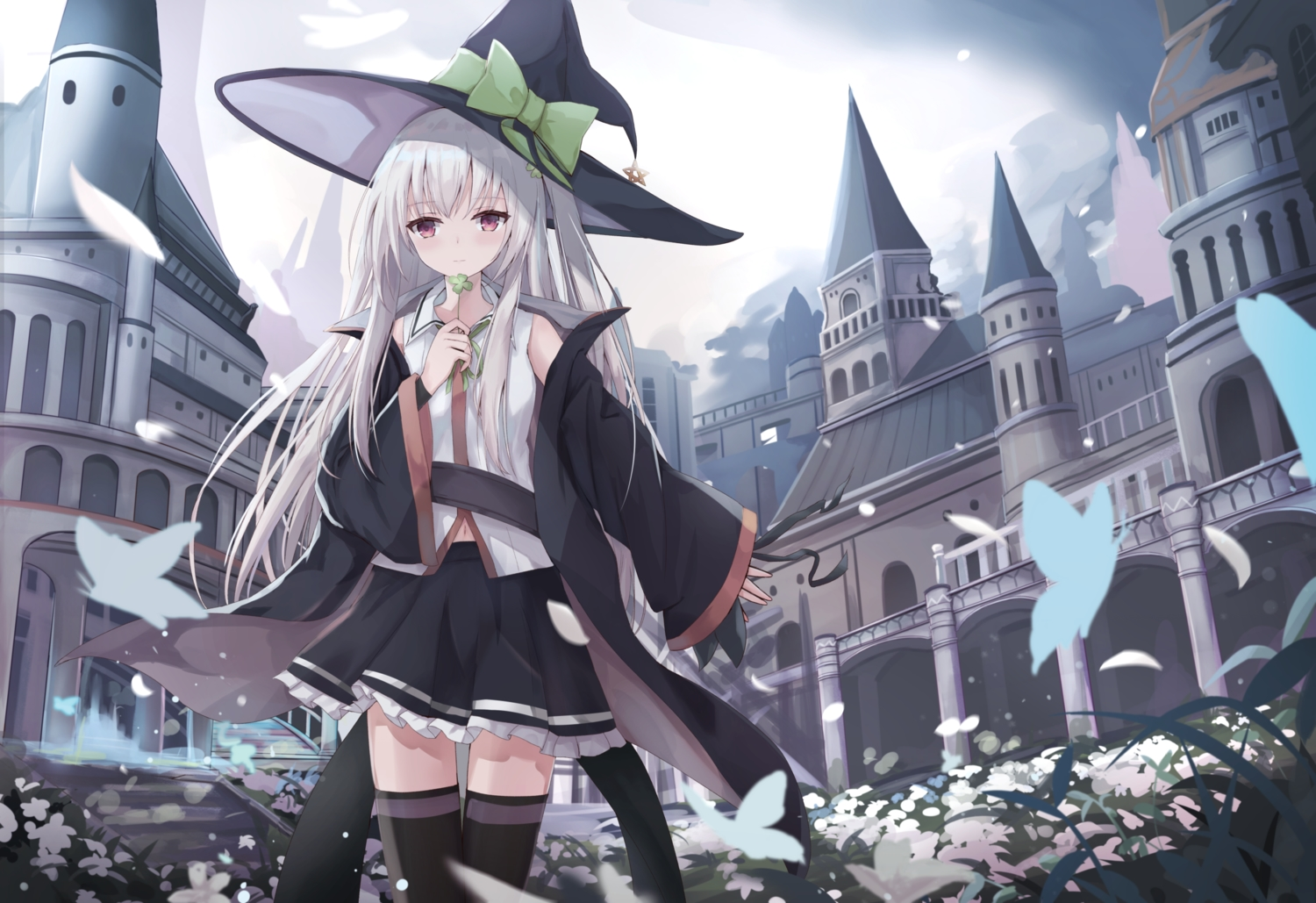 bow building butterfly flowers hat long_hair navel original red_eyes skirt sky stairs thighhighs touhourh white_hair witch_hat zettai_ryouiki