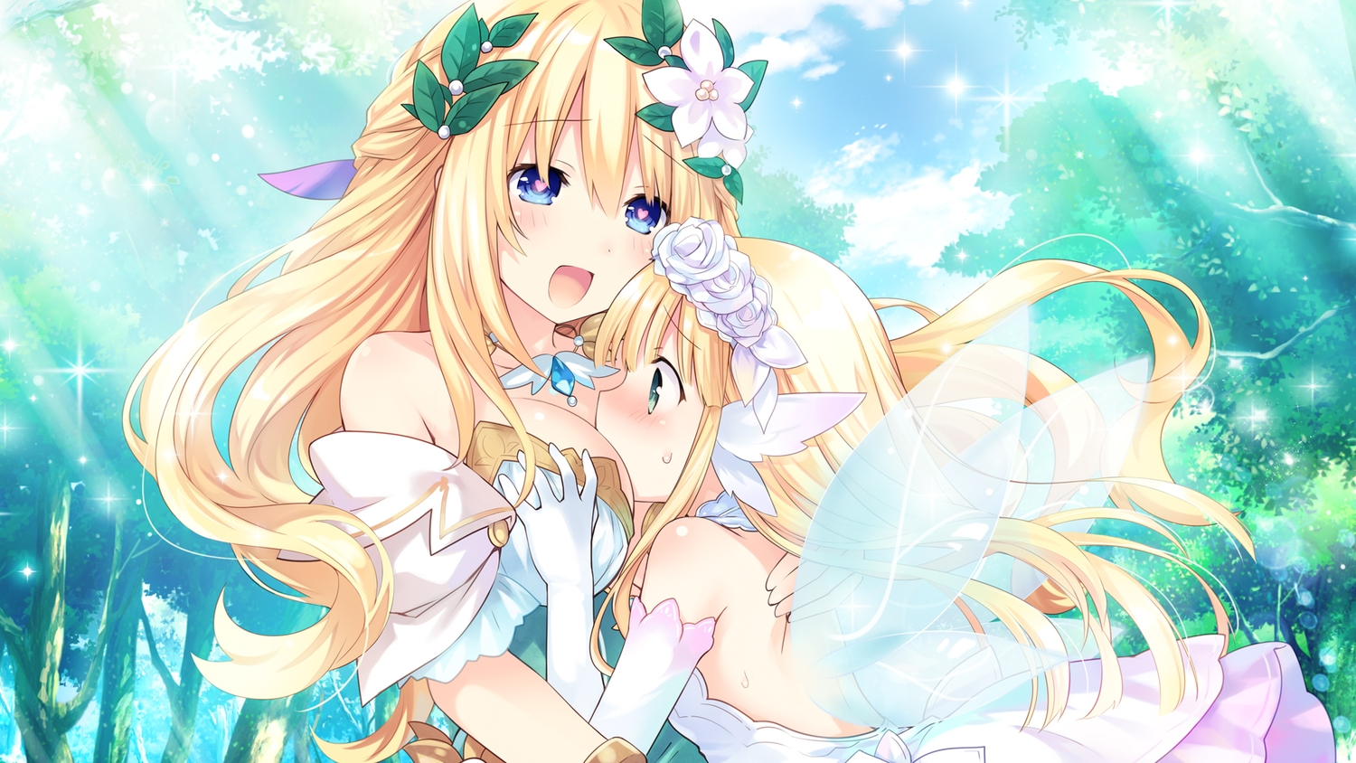 2girls aqua_eyes blonde_hair blush bouquet_(hyperdimension_neptunia) breasts cleavage clouds dress fairy flowers four_goddesses_online:_cyber_dimension_neptune green_eyes hug hyperdimension_neptunia loli long_hair rose sky tree tsunako vert wings