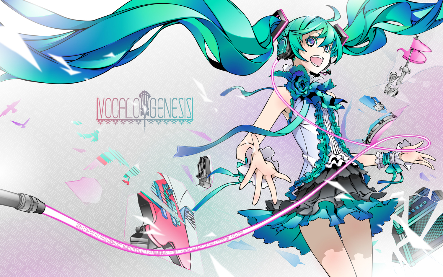 blue_hair hatsune_miku headphones long_hair miwa_shirow purple_eyes skirt twintails vector vocaloid watermark