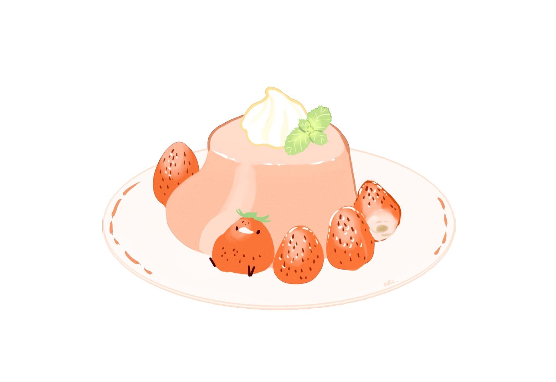 animal bird chai_(artist) food fruit nobody original polychromatic signed strawberry white