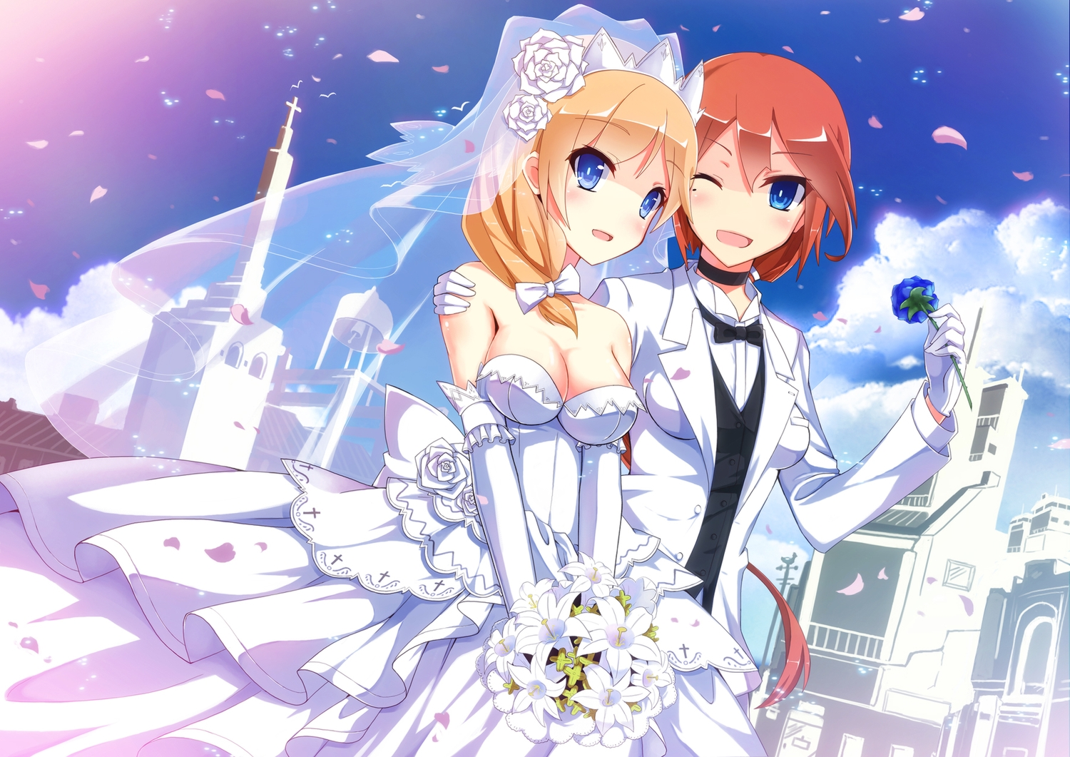 2girls anthropomorphism blonde_hair blue_eyes blush bow breasts choker cleavage dress elbow_gloves flowers gloves headdress nelson orange_hair petals ponytail rodney shoujo_ai suit uiu wedding wedding_attire wink zhanjian_shaonu