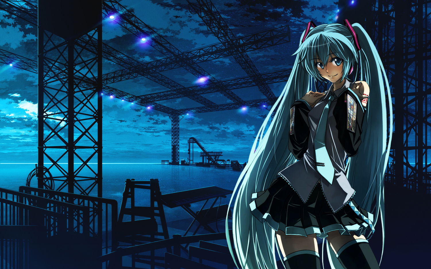 hatsune_miku long_hair skirt thighhighs tie vocaloid