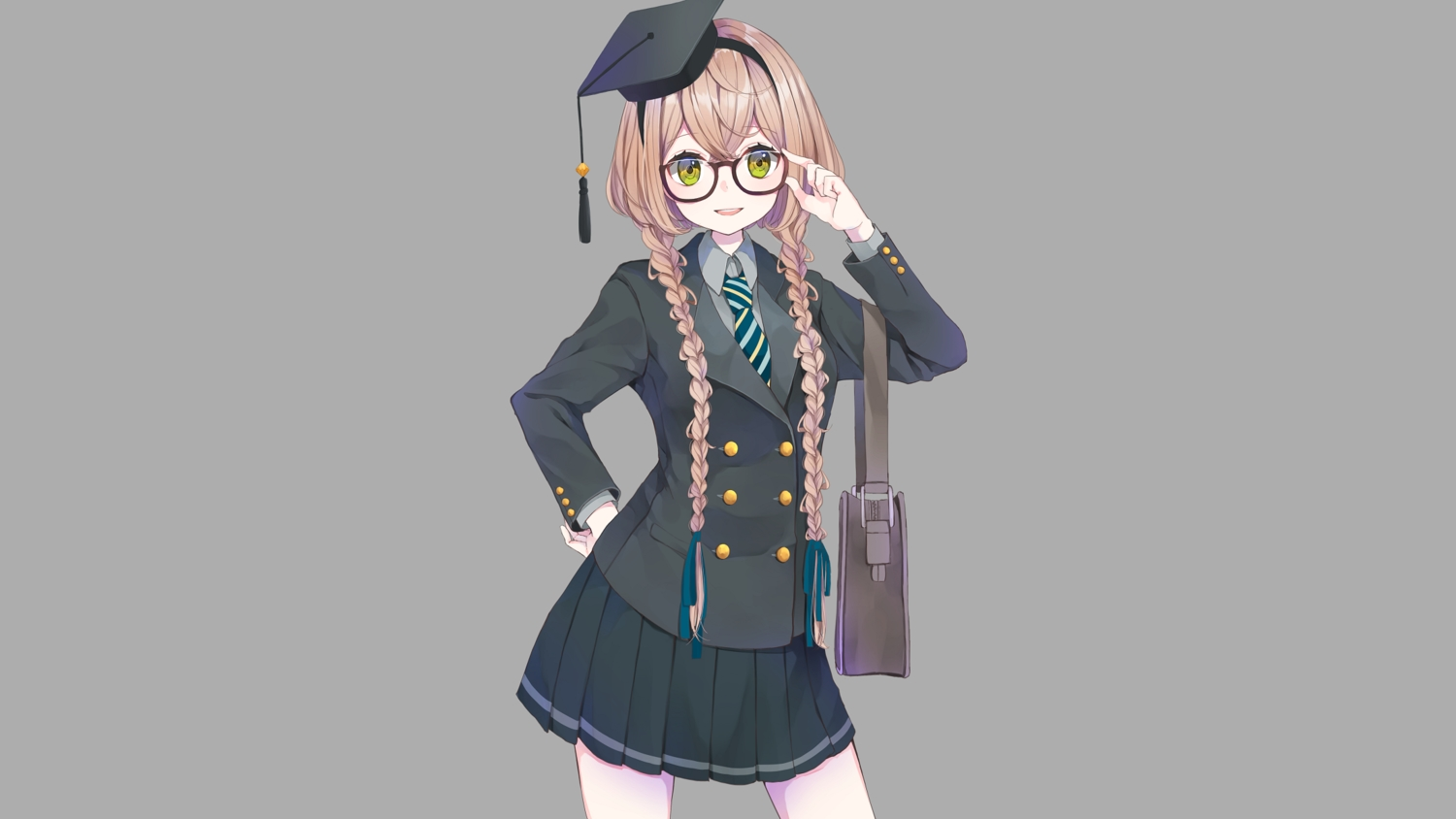 aliasing blonde_hair braids glasses gray green_eyes hat long_hair original ribbons seifuku skirt tagme_(artist) tie twintails