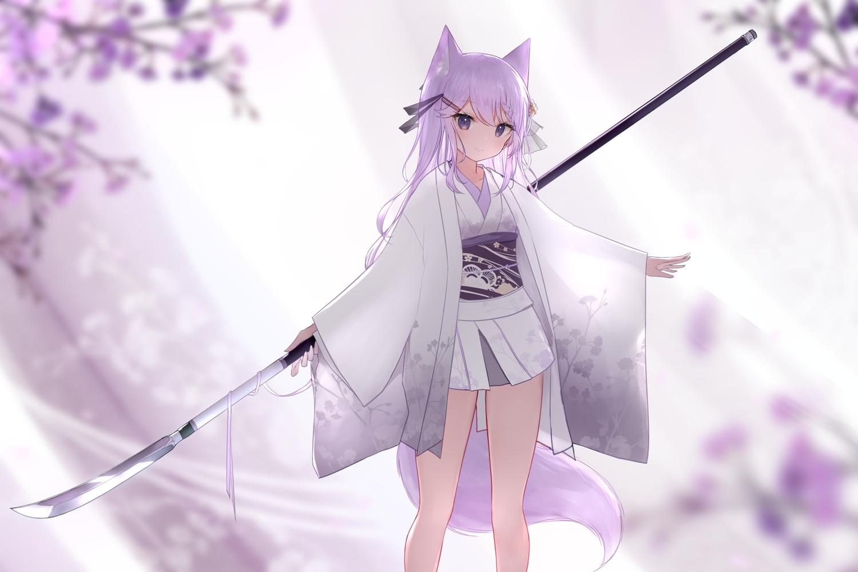 aliasing animal_ears flowers foxgirl guo582 japanese_clothes long_hair original polychromatic purple_eyes purple_hair skirt spear tail weapon