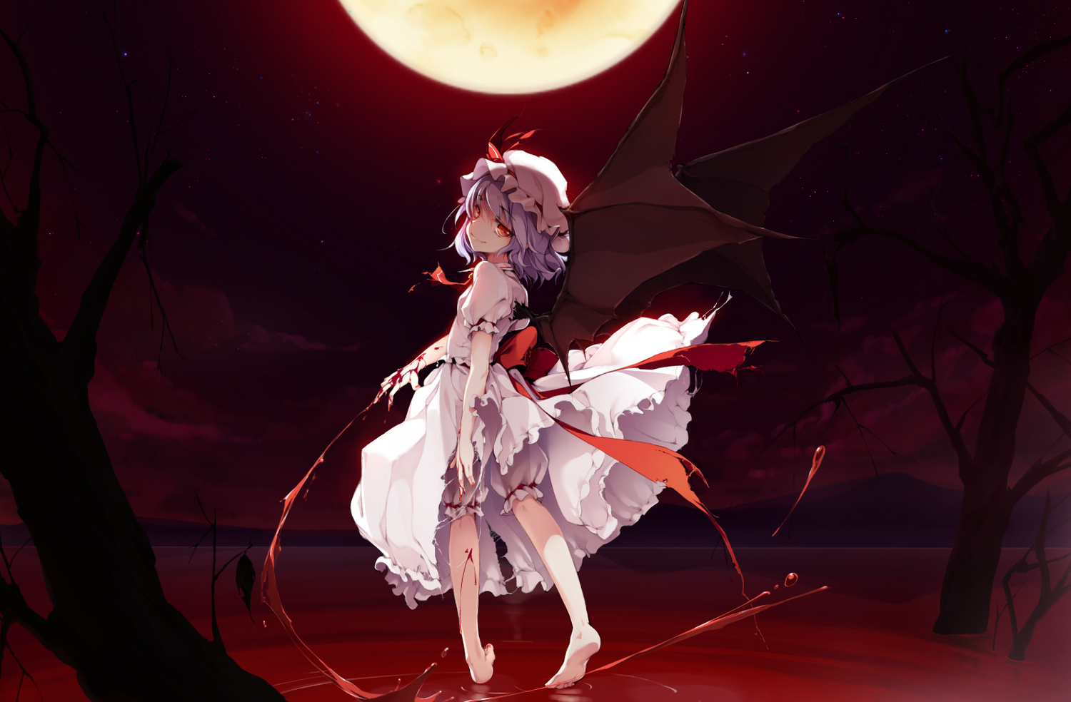 blood dress ke-ta moon red_eyes remilia_scarlet short_hair torn_clothes touhou vampire wings