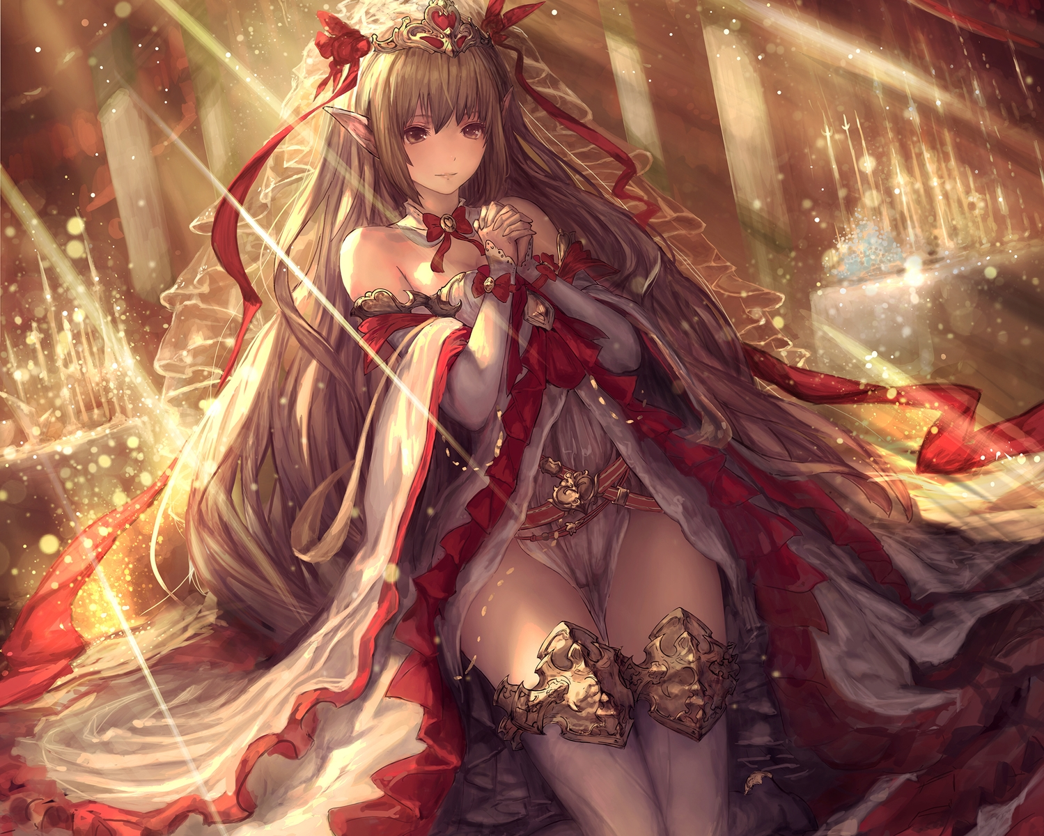 bow brown_eyes brown_hair cameltoe cropped crown long_hair original pointed_ears ribbons see_through shingeki_no_bahamut tachikawa_mushimaro thighhighs