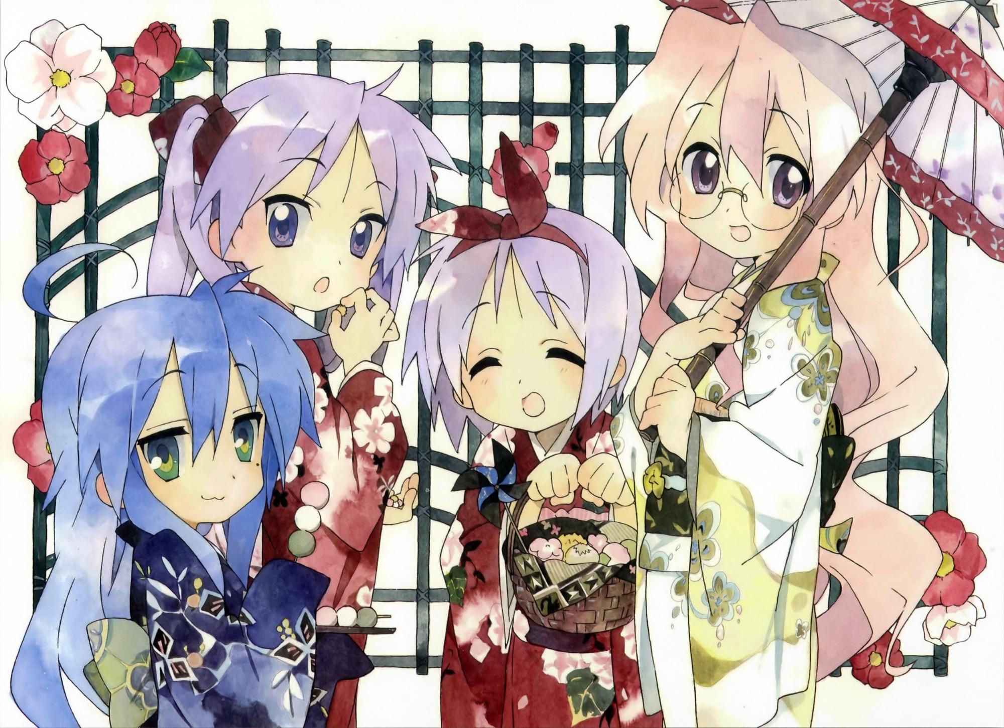 hiiragi_kagami hiiragi_tsukasa izumi_konata japanese_clothes kimono lucky_star scan takara_miyuki