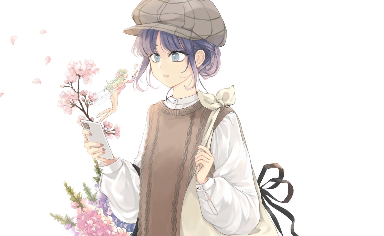 blue_eyes blue_hair ceru cherry_blossoms fairy flowers green_hair hat long_hair original petals phone short_hair white
