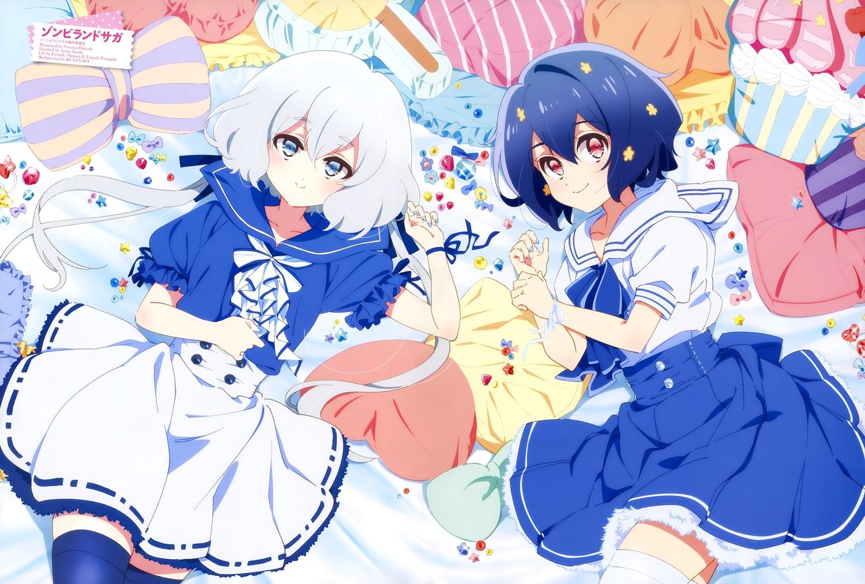 blue_eyes blue_hair dress gray_hair hakoda_nanami konno_junko mizuno_ai red_eyes ribbons scan short_hair thighhighs watermark wristwear zombie_land_saga
