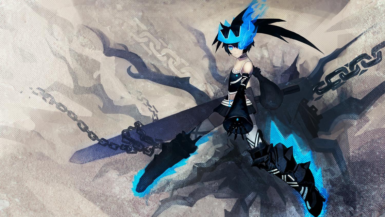 black_hair black_rock_shooter black_rock_shooter_beast blue_eyes chain long_hair qin skirt sword weapon