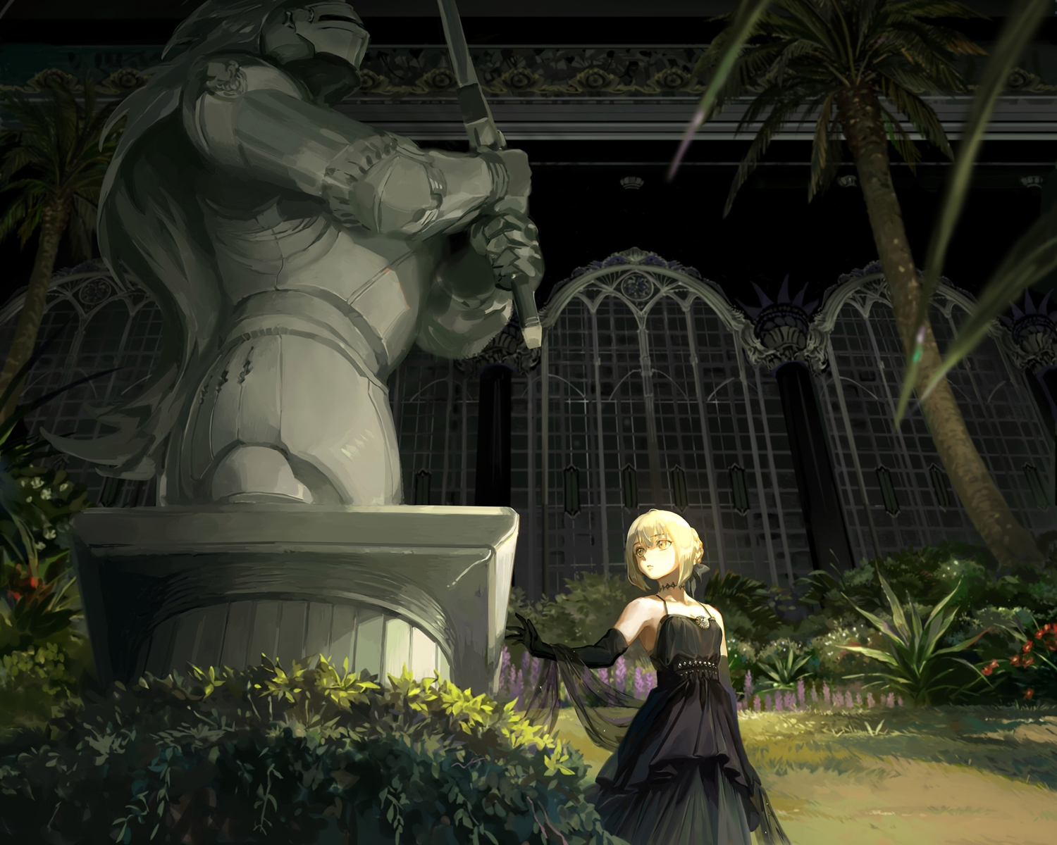 artoria_pendragon_(all) blonde_hair bow building choker cropped dress elbow_gloves fate/grand_order fate_(series) flowers gloves grass saber saber_alter short_hair taro-k tree yellow_eyes