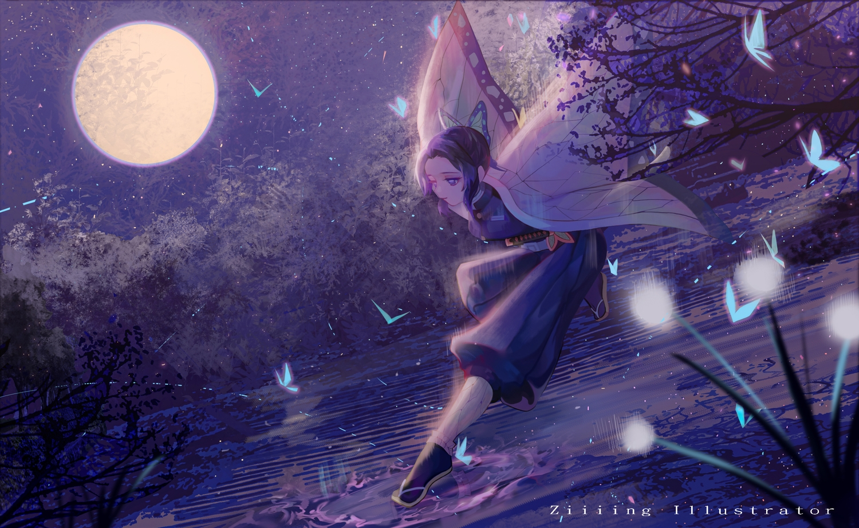 kimetsu_no_yaiba kochou_shinobu moon night watermark ziiiing