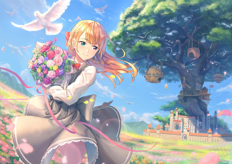 bicolored_eyes blush building clouds flowers kurageso long_hair orange_hair original petals ribbons sky tree windmill