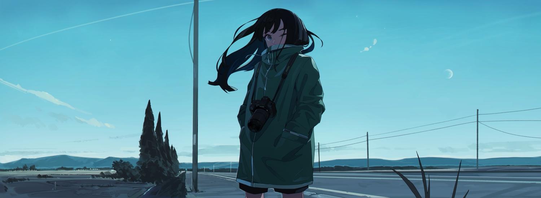 aqua_eyes black_hair camera clouds dark dualscreen kamameshi_gougoumaru long_hair moon original scenic sky wink