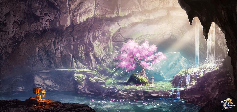 cherry_blossoms flowers grass original petals rapt_(47256) robot scenic tree water waterfall watermark