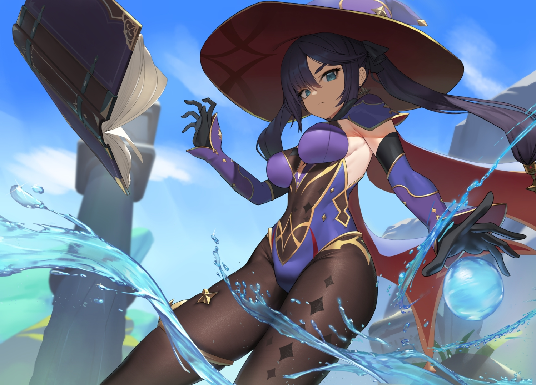 genshin_impact hat long_hair mage magic mona_megistus twintails uleuleuleu water witch_hat