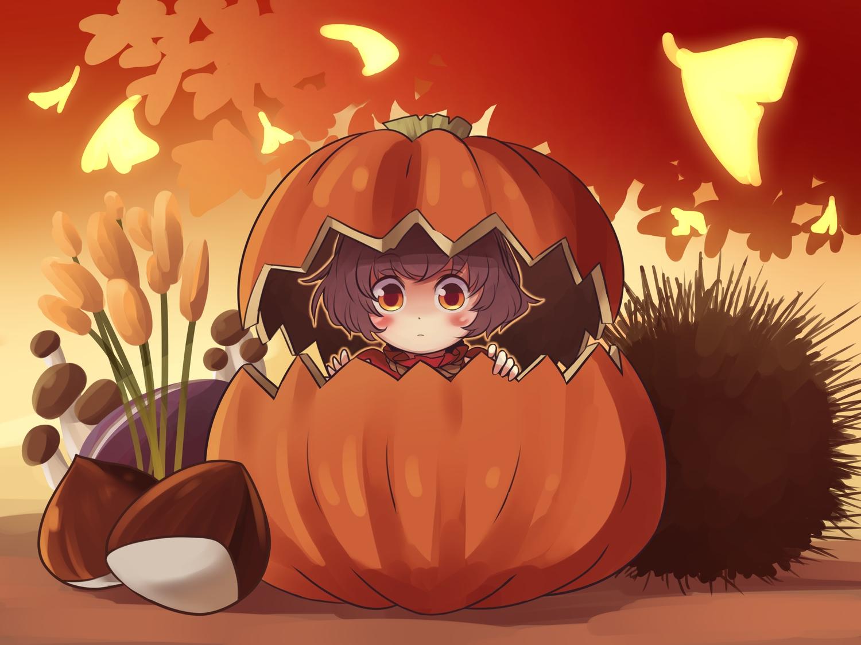 autumn blush brown_hair chibi halloween pumpkin short_hair tagme_(artist) touhou yasaka_kanako yellow_eyes