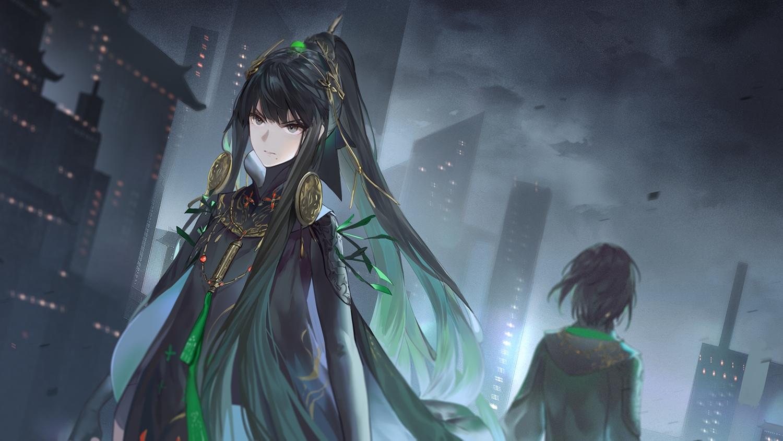 black_hair building city clouds dark gray_eyes long_hair ponytail punishing:_gray_raven qu sky yinzinmiemie