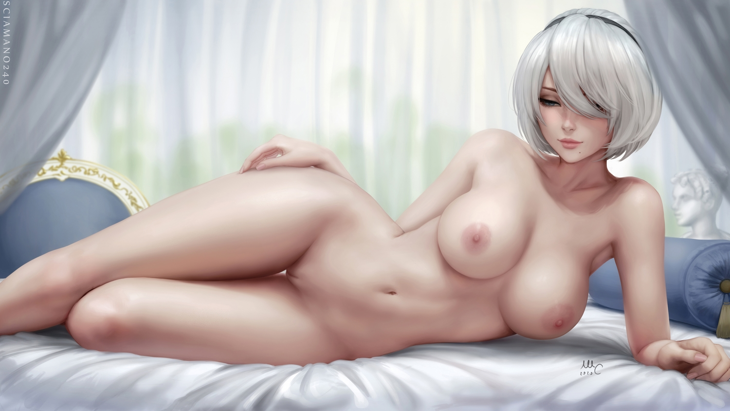 bed blue_eyes breasts nier nier:_automata nipples nude pussy realistic sciamano240 short_hair signed thighhighs uncensored watermark white_hair yorha_unit_no._2_type_b